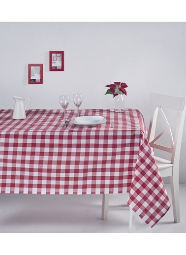 Denizli Concept Kareli Masa Örtüsü 160x220 Kırmızı